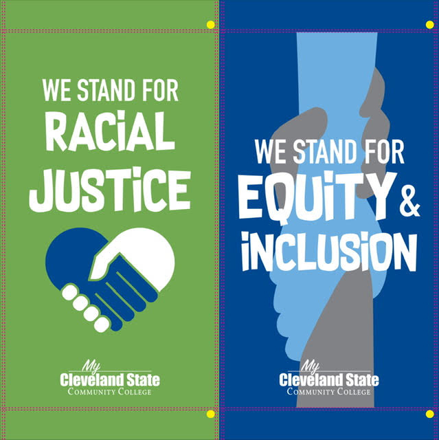 Banners for both Racial Justice and Equity & Inclusion