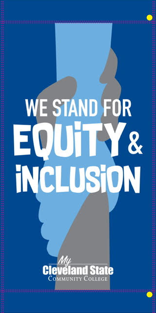 Banner that says We Stand For Equity & Inclusion